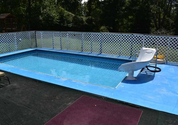 Kayak pool liner change and slide installation, Walton, KY